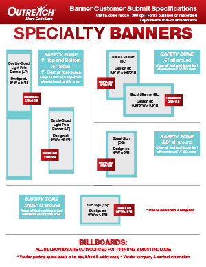 Specialty Banner Size Chart