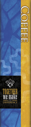 Make a Difference Blue Coffee Banner - Church Banners ...