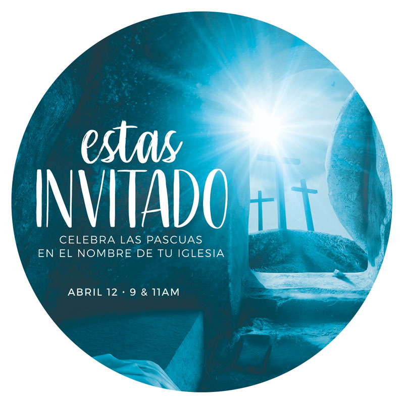 InviteCards, Easter, Blue Tomb Spanish, 4 Circle