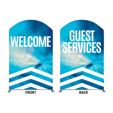 Chevron Blue Welcome Guest Services