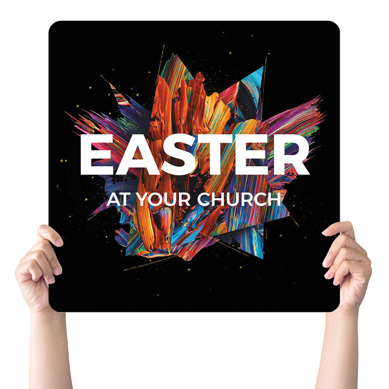 Handheld Signs, You're Invited, CMU Easter Invite 2021, 21 x 21