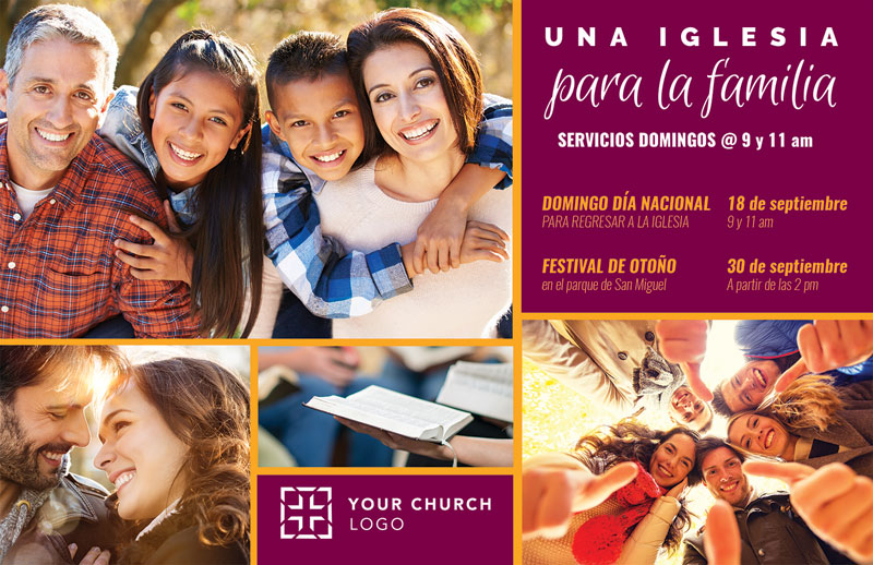 Church Postcards, Fall - General, Para La Familia Spanish, 5.5 X 8.5