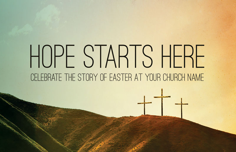 Church Postcards, Easter, Hope Starts Here Calvary, 5.5 X 8.5