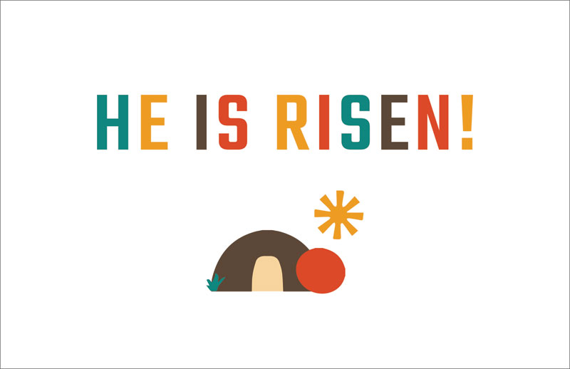 Church Postcards, You're Invited, UMC Easter Risen, 5.5 X 8.5