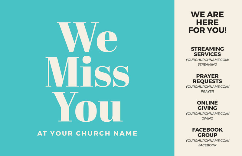 Church Postcards, Turquoise We Miss You, 5.5 X 8.5