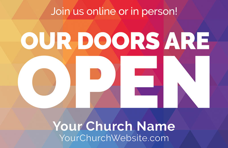 Church Postcards, Welcome Back, Geometric Bold Doors Are Open, 5.5 X 8.5