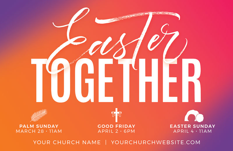Church Postcards, Christmas, Easter Together Hues, 5.5 X 8.5