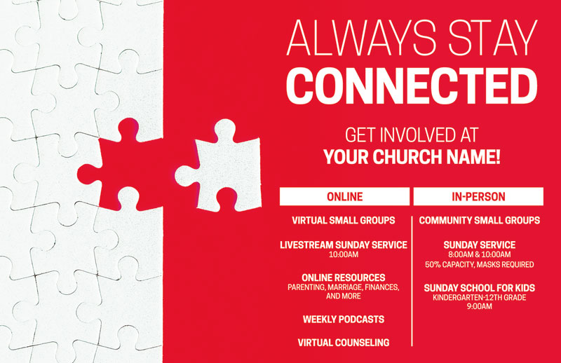 Church Postcards, You're Invited, Red Connected Puzzle, 5.5 X 8.5