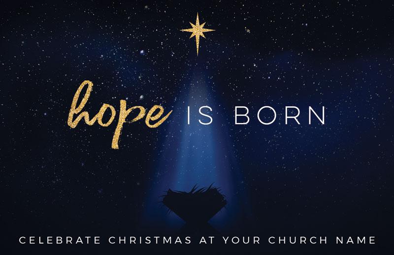 Christmas Star Hope is Born InviteCard - Church Invitations - Outreach Marketing