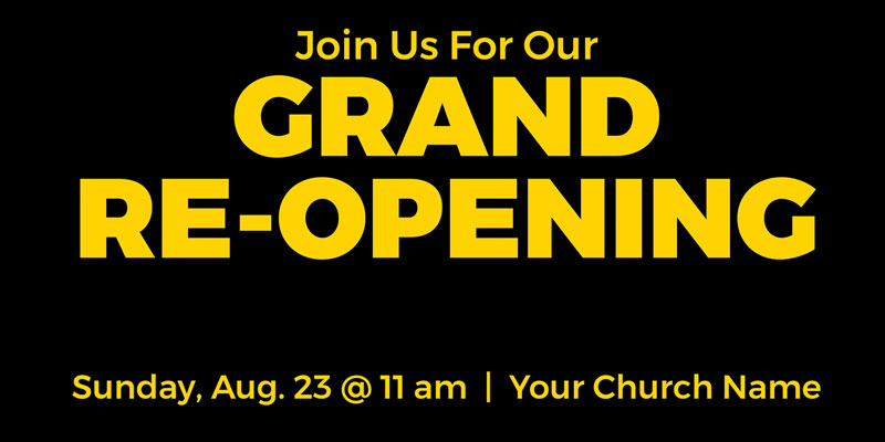 Church Postcards, Welcome Back, Jet Black Grand Re-Opening, 5.5 x 11