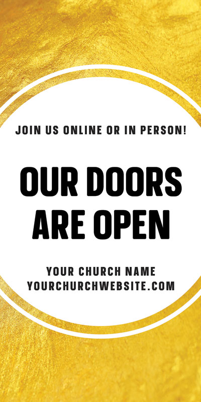 Church Postcards, Welcome Back, Gold Dot Doors Are Open, 5.5 x 11