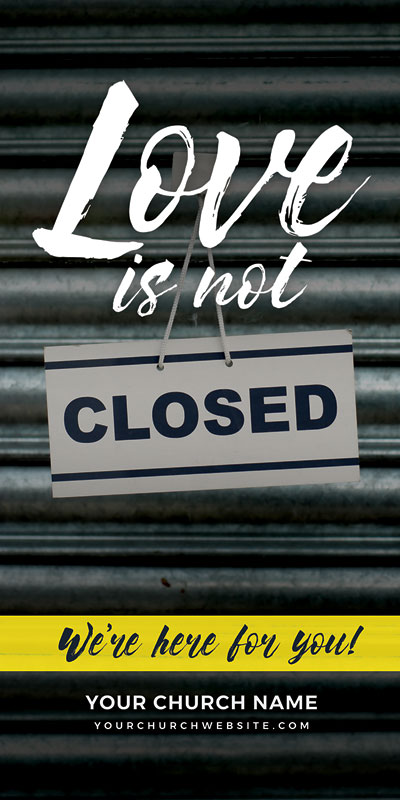 Church Postcards, Welcome Back, Love Is Not Closed, 5.5 x 11
