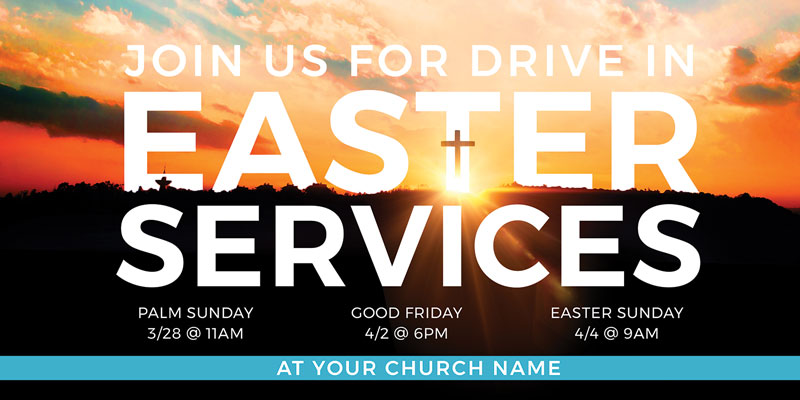 Church Postcards, Easter, Drive In Easter Services, 5.5 x 11
