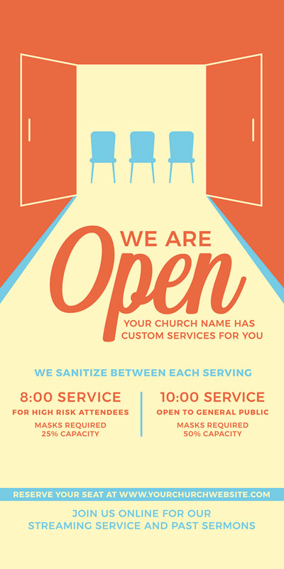 Church Postcards, Welcome Back, We Are Open, 5.5 x 11