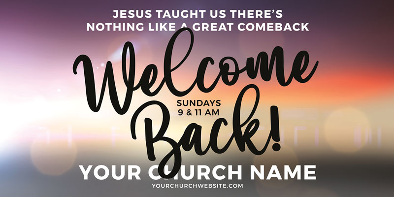 Church Postcards, Welcome Back, Jesus Comeback, 5.5 x 11
