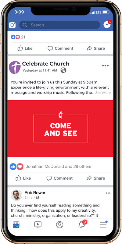 Social Ads, UMC Let's Find Community Come and See