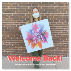 Greeter Mask Welcome Back Bricks