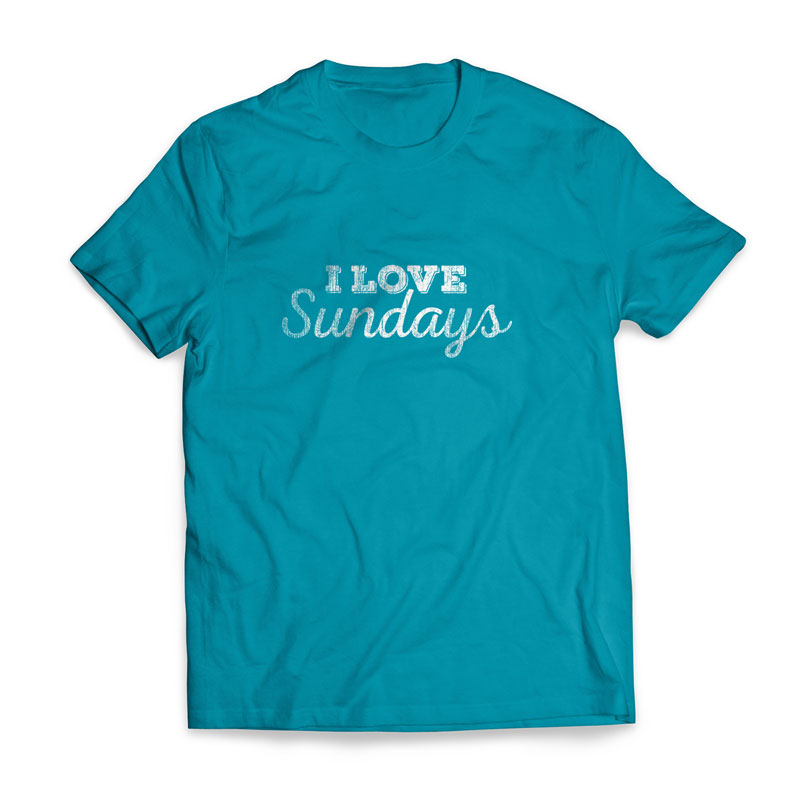 T-Shirts, New Years, I Love Sundays Large, Large (Unisex)