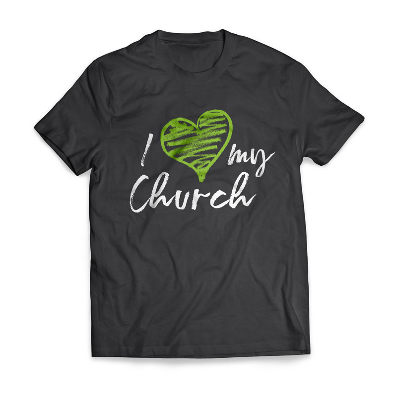 T-Shirts, I Love My Church: Believe Love Serve, I Love My Church Green Heart - Large, Large (Unisex)