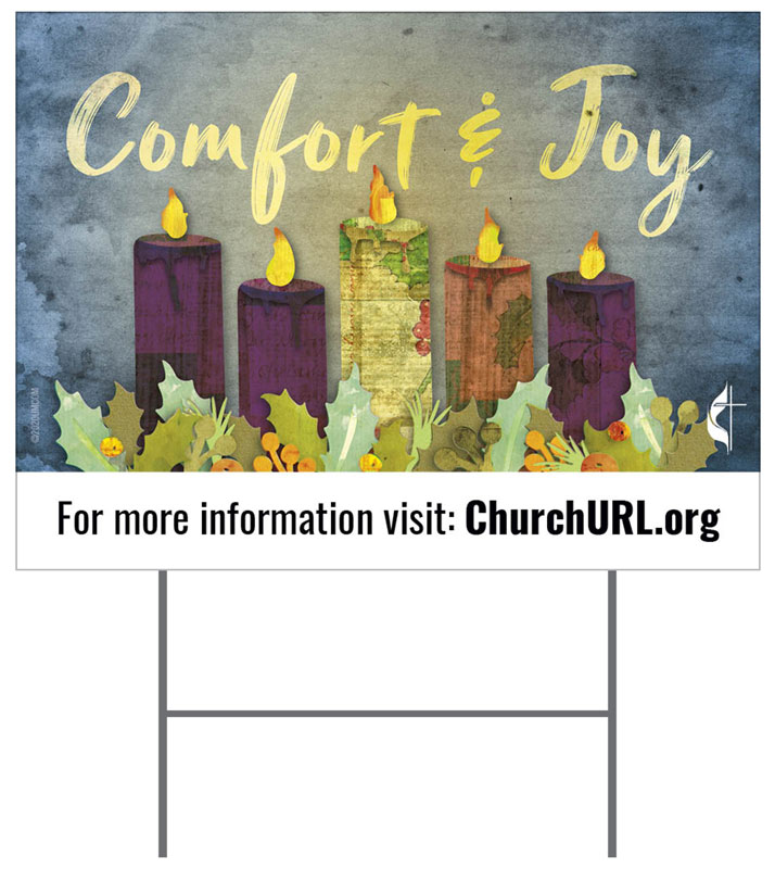 Yard Signs, Christmas, UMC Comfort and Joy, 18 x 24